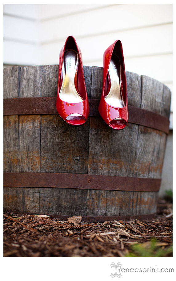 photo of red shoes at Fearrington Village wedding