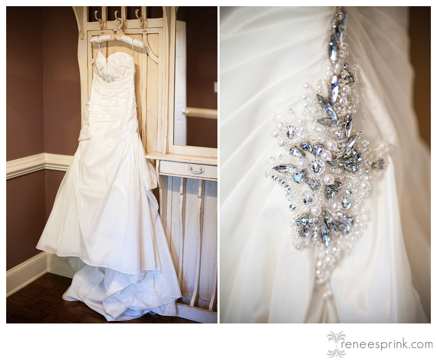 photo of gown and accessories at Fearrington Village wedding