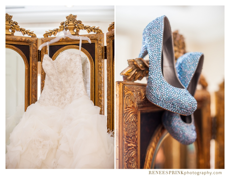 photo of gown and shoes at Brier Creek Country Club wedding