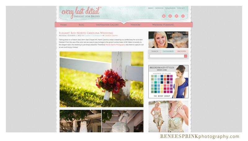 Every Last Detail wedding blog features wedding by Renee Sprink Photography
